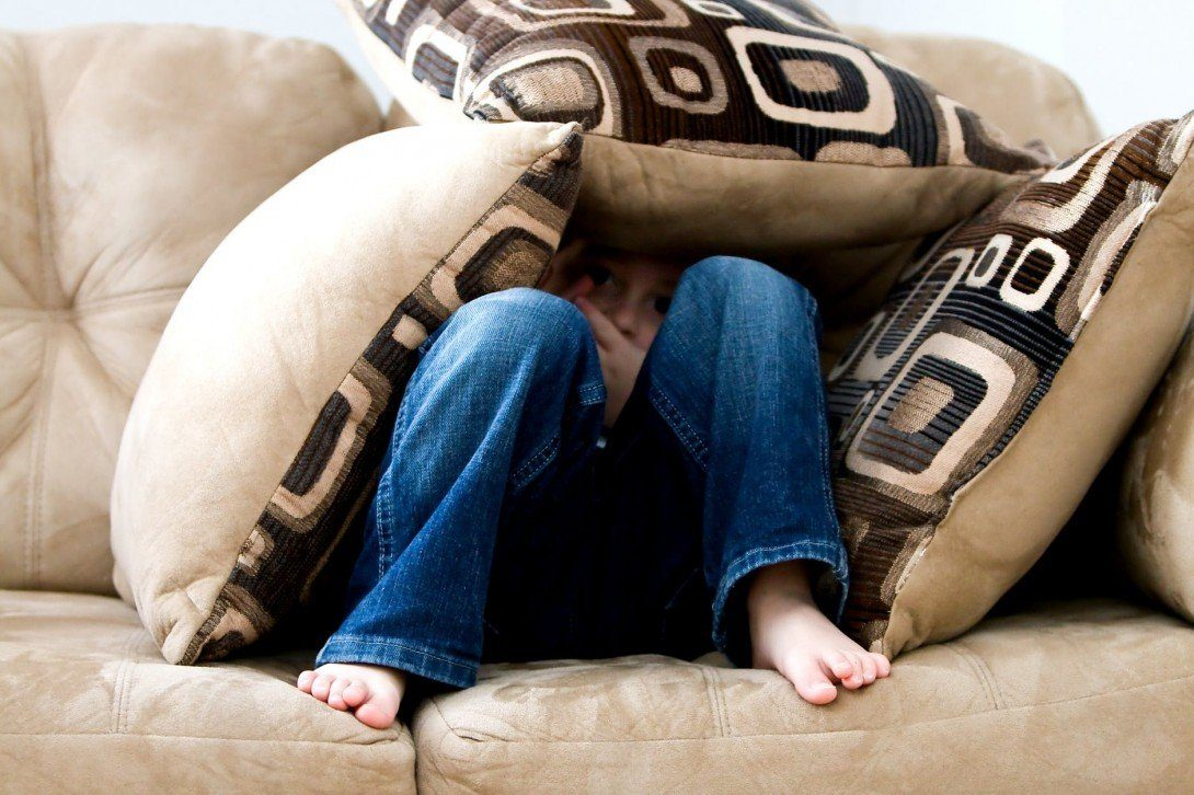 hiding beneath cushions