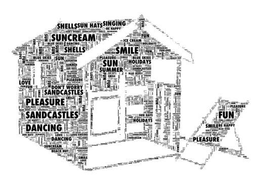 beach hut word art