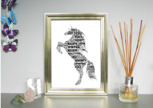 unicorn word art on About me page