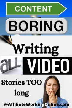 boring writing, video and stories too long