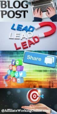 blog post,landing page, share on social media